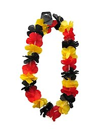 Collier de fleurs «noir rouge or»
