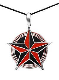 Collier étoile à cinq branches rouge et noir