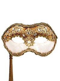 Colombina 1/2 macrame bianco con bastone - Venetian Mask