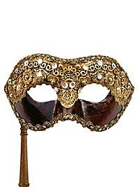 Colombina 1/2 macrame cuoio con bastone - masque vénitien