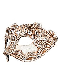 Colombina 3/4 macrame craquele argento Venezianische Maske