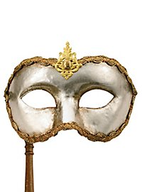 Colombina argento con bastone - Venezianische Maske