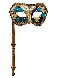 Colombina arlecchino blu con bastone - Venezianische Maske