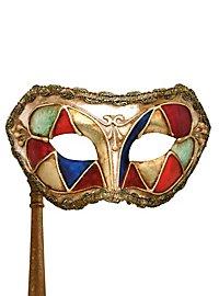 Colombina arlecchino multicolore con bastone - Venezianische Maske