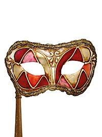 Colombina arlecchino rosso con bastone - Venezianische Maske