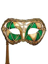 Colombina arlecchino verde con bastone - Venezianische Maske