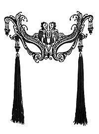 Colombina Contessa de lusso de metallo nero Venezianische Metallmaske