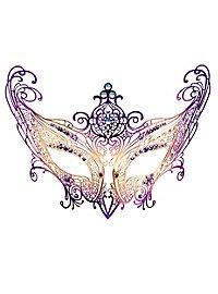 Colombina Contessa de metallo oro violetto Venetian Metal Mask