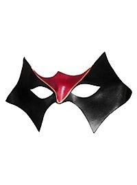 Colombina Domino noir Masque en cuir vénitien