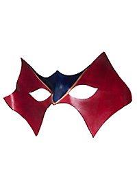 Masque vénitien en cuir Colombina Domino rouge