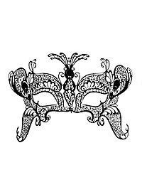 Colombina Farfalla bella de metallo nero Metal Venetian mask