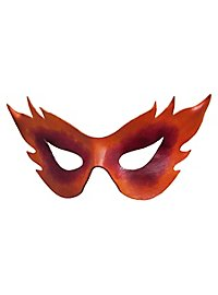 Colombina Fiamma rouge Masque en cuir vénitien