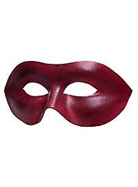 Masque vénitien en cuir Colombina Liscia rouge