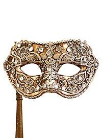 Colombina macrame argento con bastone - masque vénitien