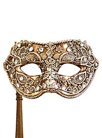 Colombina macrame argento con bastone - Venetian Mask