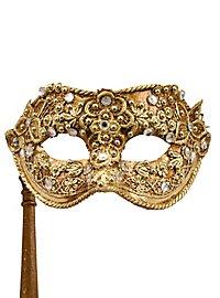 Colombina macrame oro con bastone - Venezianische Maske