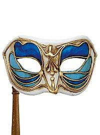 Colombina Monica blu bianco con bastone - masque vénitien