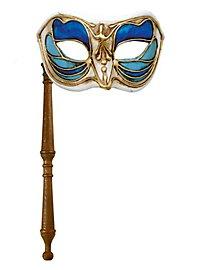Colombina Monica blu bianco con bastone - Venetian Mask