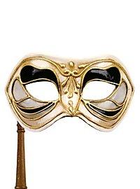 Colombina Monica nero bianco con bastone - Venezianische Maske