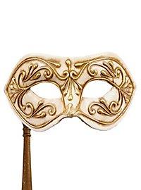 Colombina Monica oro bianco con bastone - Venezianische Maske