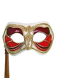 Colombina Monica rosso bianco con bastone Venezianische Maske