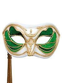 Colombina Monica verde bianco con bastone - Venezianische Maske