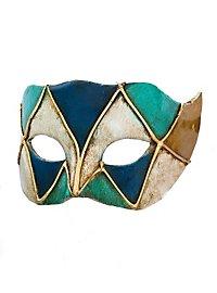 Colombina piccolo arlecchino blu verde Venezianische Miniaturmaske
