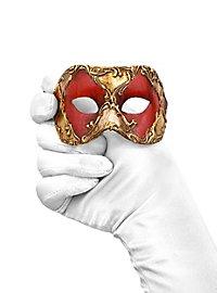 Colombina piccolo scacchi rosso oro Masque vénitien miniature