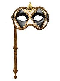 Colombina scacchi bianco nero con bastone - Venezianische Maske