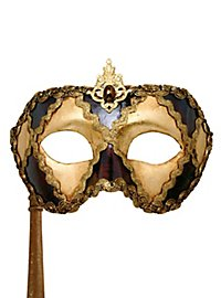 Colombina scacchi oro cuoio con bastone Venezianische Maske