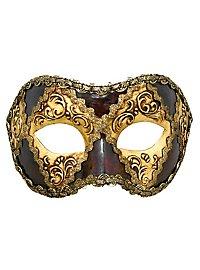 Colombina scacchi oro cuoio occhi stucco - Venezianische Maske