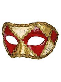 Colombina scacchi rosso musica - Venezianische Maske