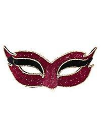 Colombina velluto mezzo rosso Venezianische Maske