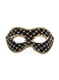 Colombina velluto nero oro Venezianische Maske