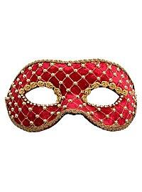 Colombina velluto rosso oro Venezianische Maske