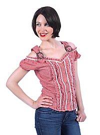 Corsage bavarois Femme rouge et blanc épaules nues