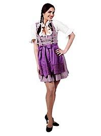 Costume de Bavaroise à carreaux avec tablier violet et blanc