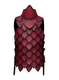 Cuisasse à écailles en cuir rouge