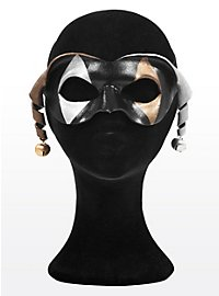 Dark Harlequin with Bells Leather Eye Mask