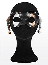 Dark Harlequin with Bells Leather Eye Mask