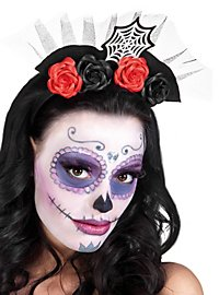 Day of the dead hairband with spider web