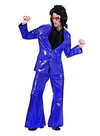 Déguisement costard de chanteur disco bleu à paillettes