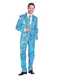 Déguisement costard de chanteur disco turquoise à paillettes