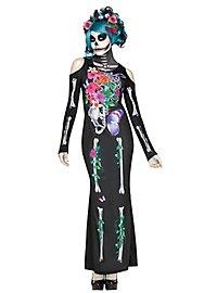 Déguisement robe de squelette en fleurs