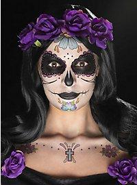 Dia de los Muertos make-up set black-purple
