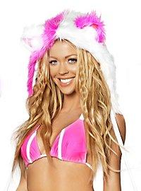 Disco Fellmütze pink-weiß