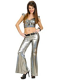 Disco Glitter Ladies Trousers silver