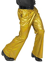 Disco glitter men pants gold