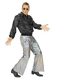 Disco glitter men's trousers silver