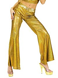Disco Glitzer Damenhose gold
